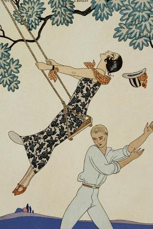 The Swing-Georges Barbier-Stretched Canvas Print