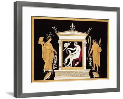 19th Century Antique Vase Illustration of a Hunter with Dog and Attendants-Stapleton Collection-Framed Giclee Print