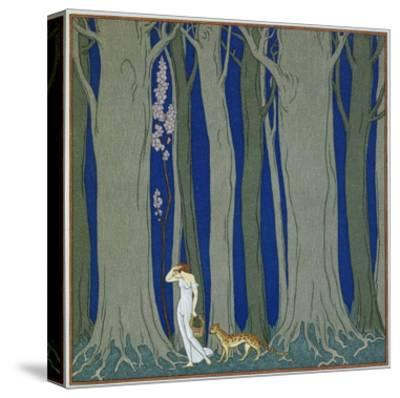 Book Illustration of a Woman and a Leopard in the Forest by Georges Barbier-Stapleton Collection-Stretched Canvas Print
