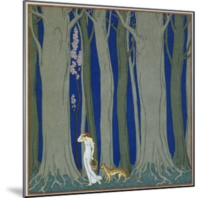 Book Illustration of a Woman and a Leopard in the Forest by Georges Barbier-Stapleton Collection-Mounted Premium Giclee Print
