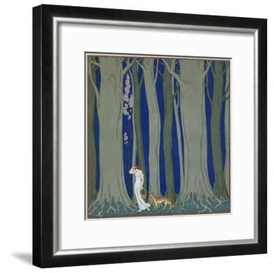 Book Illustration of a Woman and a Leopard in the Forest by Georges Barbier-Stapleton Collection-Framed Premium Giclee Print