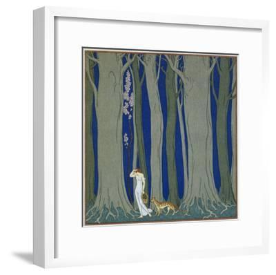 Book Illustration of a Woman and a Leopard in the Forest by Georges Barbier-Stapleton Collection-Framed Giclee Print