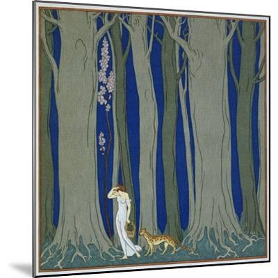 Book Illustration of a Woman and a Leopard in the Forest by Georges Barbier-Stapleton Collection-Mounted Giclee Print