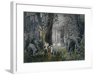 Lithograph of an Elephant Hunt After Graf Andrasy-Stapleton Collection-Framed Giclee Print