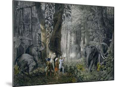 Lithograph of an Elephant Hunt After Graf Andrasy-Stapleton Collection-Mounted Giclee Print
