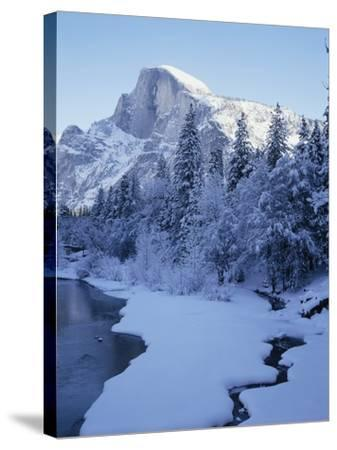 Merced River and Half Dome in Winter-James Randklev-Stretched Canvas Print