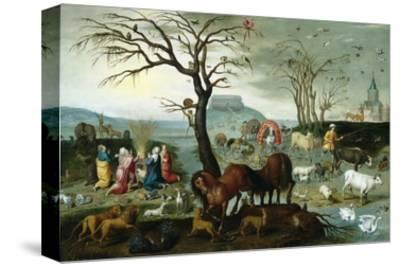 Noah's Ark-The Animals Leave the Ark-Jacob Bouttats-Stretched Canvas Print