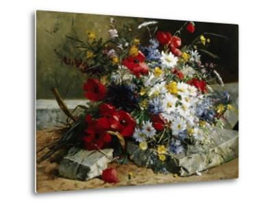 Daisies, Cornflowers and Poppies-Eugene Henri Cauchois-Metal Print