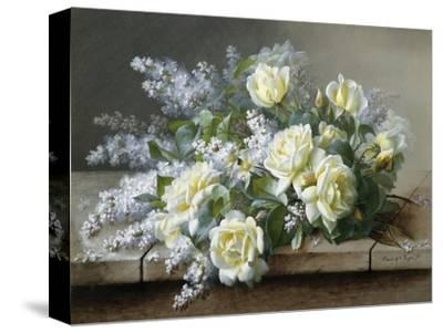 A Still Life with Yellow Roses-Raoul De Longpre-Stretched Canvas Print