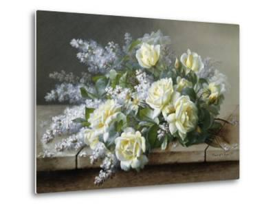 A Still Life with Yellow Roses-Raoul De Longpre-Metal Print