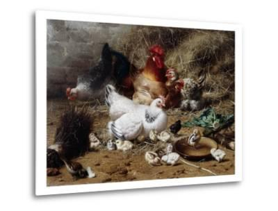 A Family of Chickens-Eugene Remy Maes-Metal Print