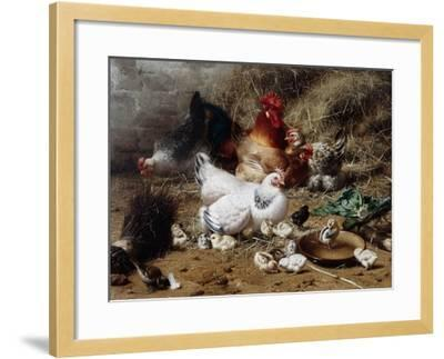 A Family of Chickens-Eugene Remy Maes-Framed Giclee Print