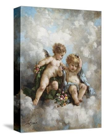 Cherubs in the Clouds-Charles Lutyens-Stretched Canvas Print