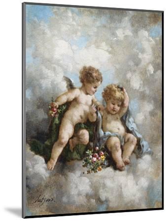 Cherubs in the Clouds-Charles Lutyens-Mounted Premium Giclee Print
