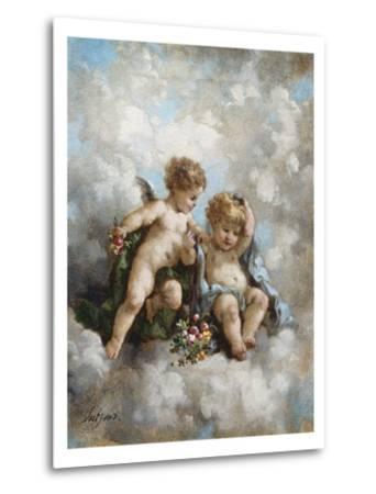 Cherubs in the Clouds-Charles Lutyens-Metal Print