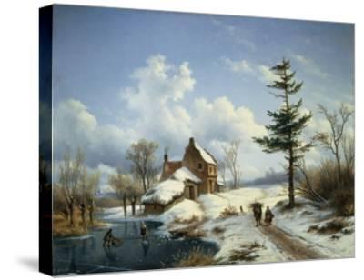 A Clear Winter's Day-Cornelius Lieste-Stretched Canvas Print