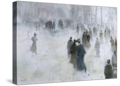 A Walk in the Snow-Lucien Frank-Stretched Canvas Print