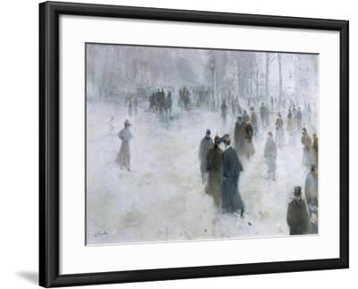 A Walk in the Snow-Lucien Frank-Framed Giclee Print
