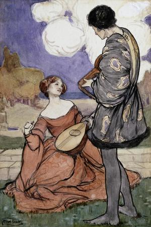 Rustic Music-Byam Shaw-Stretched Canvas Print