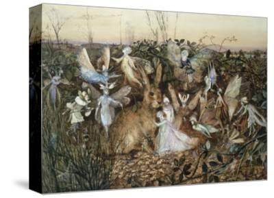 A Rabbit Among the Fairies-John Anster Fitzgerald-Stretched Canvas Print