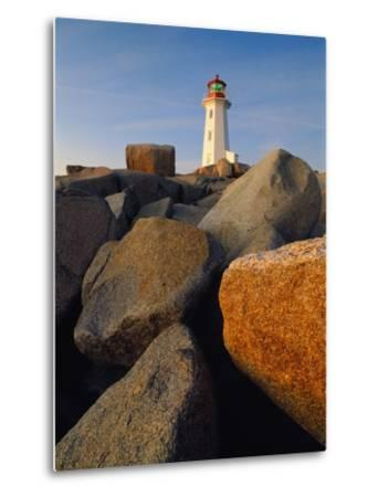 Rocks near Peggy's Cove Light-Ron Watts-Metal Print