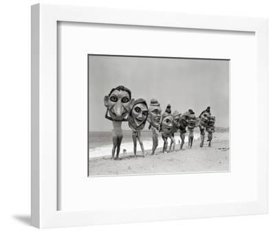 Women Holding Giant Masks-Bettmann-Framed Premium Photographic Print
