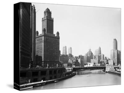 Chicago Skyline and River-Bettmann-Stretched Canvas Print