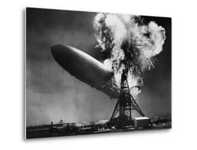 Hindenburg Explosion-Bettmann-Metal Print
