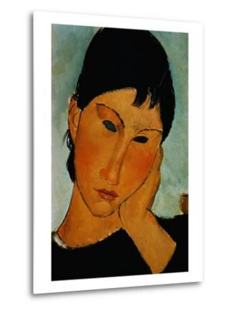 Detail of Female Head from Elvira Resting at a Table-Amedeo Modigliani-Metal Print