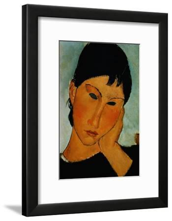 Detail of Female Head from Elvira Resting at a Table-Amedeo Modigliani-Framed Giclee Print