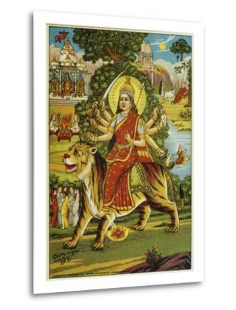 The Goddess Durga Color Lithograph-Bettmann-Metal Print