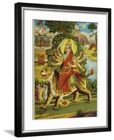 The Goddess Durga Color Lithograph-Bettmann-Framed Giclee Print