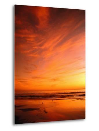 Southern California Sunset at Beach-Mick Roessler-Metal Print