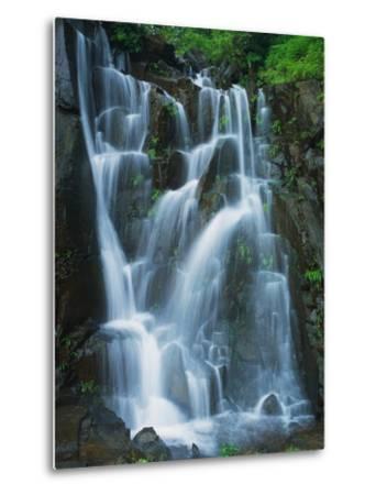 Waterfall Cascading over Rocks-Jagdish Agarwal-Metal Print