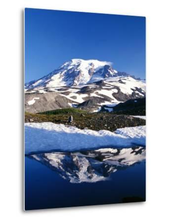 Alpine Lake Reflecting Mt. Rainier-Craig Tuttle-Metal Print
