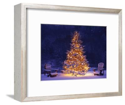 Snow Covering Adirondack Chairs by Lit Christmas Tree-Jim Craigmyle-Framed Premium Photographic Print