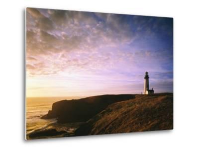 Sun Rising over Yaquina Head Lighthouse-Craig Tuttle-Metal Print