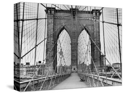 Pedestrian Walkway on the Brooklyn Bridge-Bettmann-Stretched Canvas Print