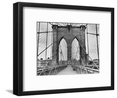 Pedestrian Walkway on the Brooklyn Bridge-Bettmann-Framed Premium Photographic Print