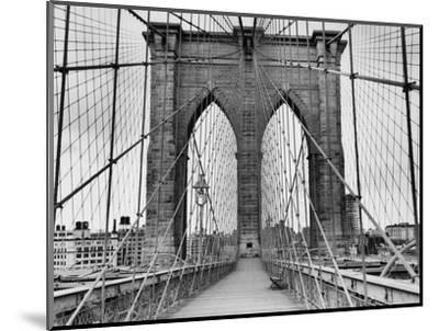 Pedestrian Walkway on the Brooklyn Bridge-Bettmann-Mounted Premium Photographic Print