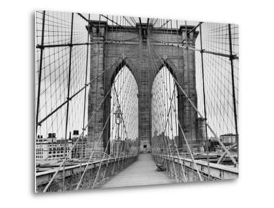 Pedestrian Walkway on the Brooklyn Bridge-Bettmann-Metal Print