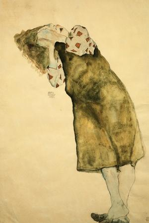 Sleeping Girl-Egon Schiele-Stretched Canvas Print