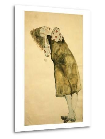 Sleeping Girl-Egon Schiele-Metal Print