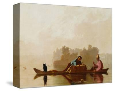 Fur Traders Descending the Missouri-George Caleb Bingham-Stretched Canvas Print