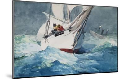 Reefing Sails Around Diamond Shoals, Cape Hatteras-Winslow Homer-Mounted Giclee Print