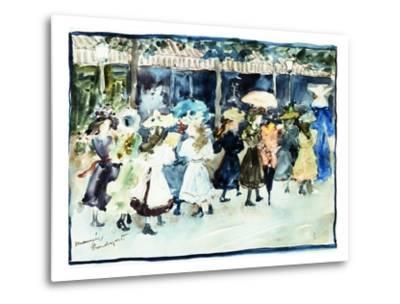 Watercolor of Girls Walking Along the Boardwalk by Maurice Brazil Prendergast-Geoffrey Clements-Metal Print