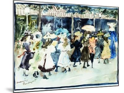 Watercolor of Girls Walking Along the Boardwalk by Maurice Brazil Prendergast-Geoffrey Clements-Mounted Giclee Print