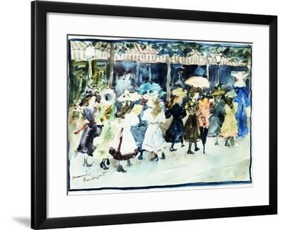Watercolor of Girls Walking Along the Boardwalk by Maurice Brazil Prendergast-Geoffrey Clements-Framed Giclee Print