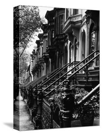 Stoops on 19th Century Brooklyn Row Houses-Karen Tweedy-Holmes-Stretched Canvas Print