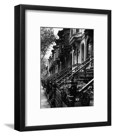 Stoops on 19th Century Brooklyn Row Houses-Karen Tweedy-Holmes-Framed Premium Photographic Print
